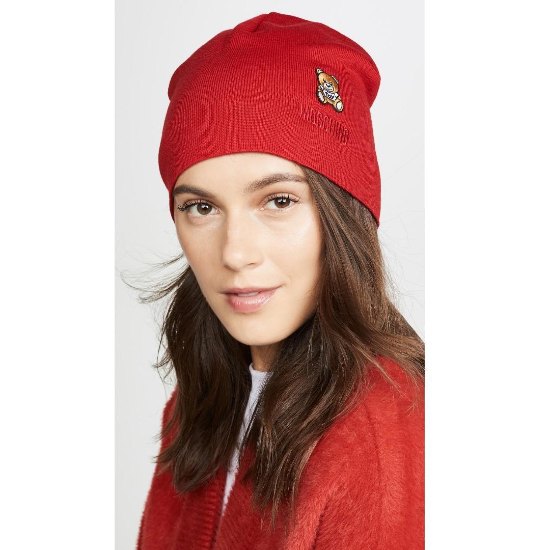夢幻逸品 ! Moschino 紅色熊熊~100%羊毛~毛線帽~義大利製造!設計師限量款~僅兩頂超值價!
