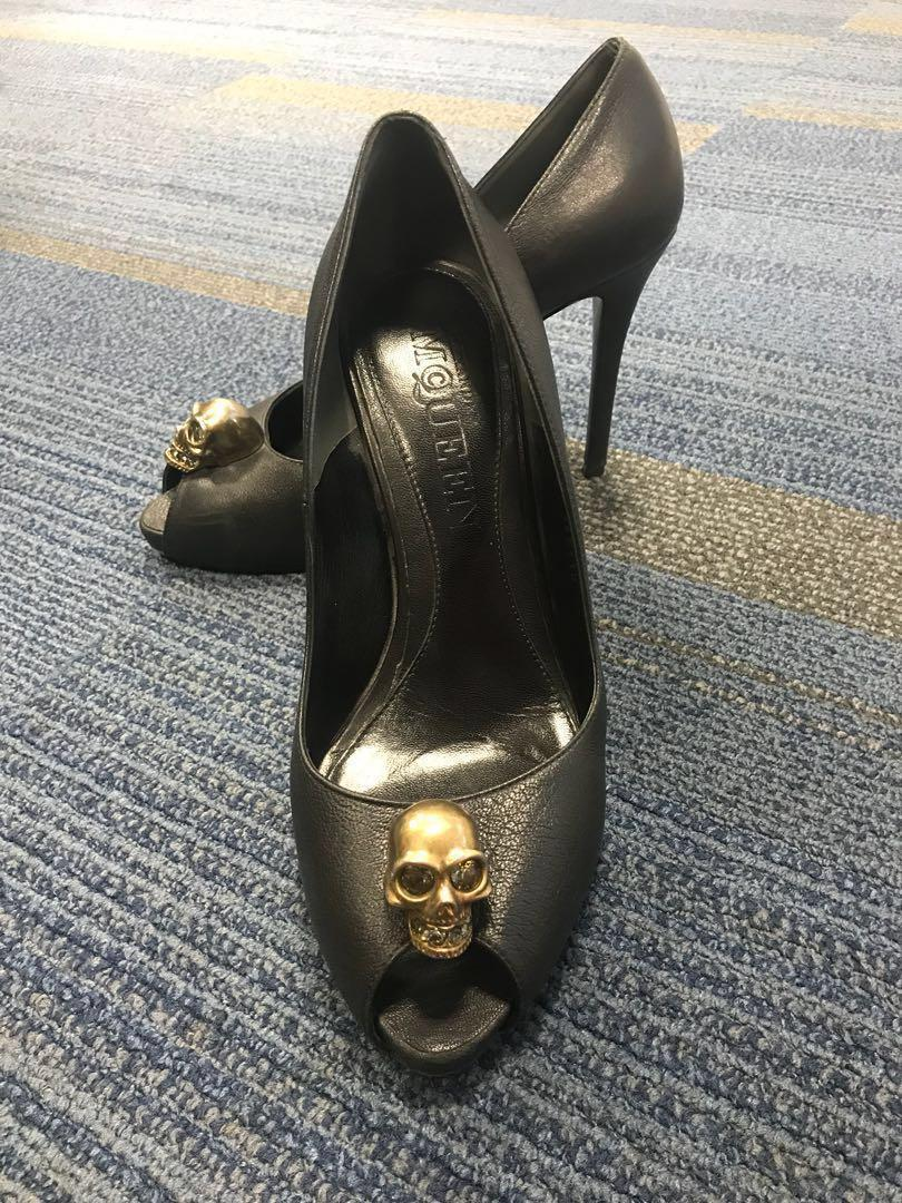 Alexander McQueen peep toe black pumps with skull ornament and Swarovski Crystals