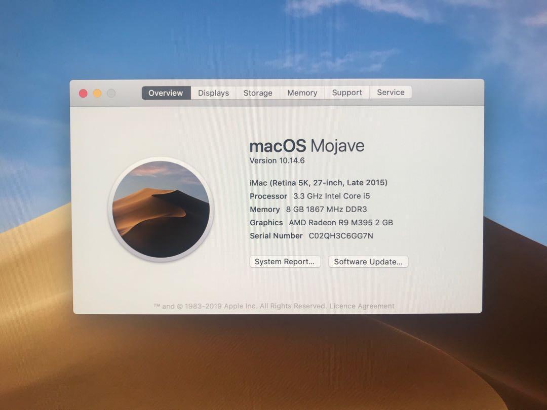 "Apple iMac 27"" 2015 3.3ghz Intel Core i5 8gb Ram 2.12 TB Fusion Drive"