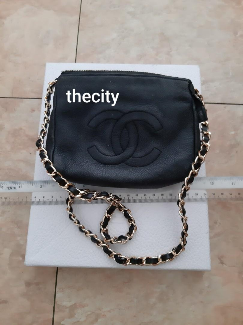 AUTHENTIC CHANEL BLACK CAVIAR LEATHER VANITY POUCH BAG - HOLOGRAM STICKER INTACT- CLEAN INTERIOR - GOLD HARDWARE- COMES WITH EXTRA ADD. HOOKS & LONG CHAIN STRAP FOR CROSSBODY SLING - VINTAGE TIMELESS CLASSIC,  NOT FOR FUSSY BUYERS -