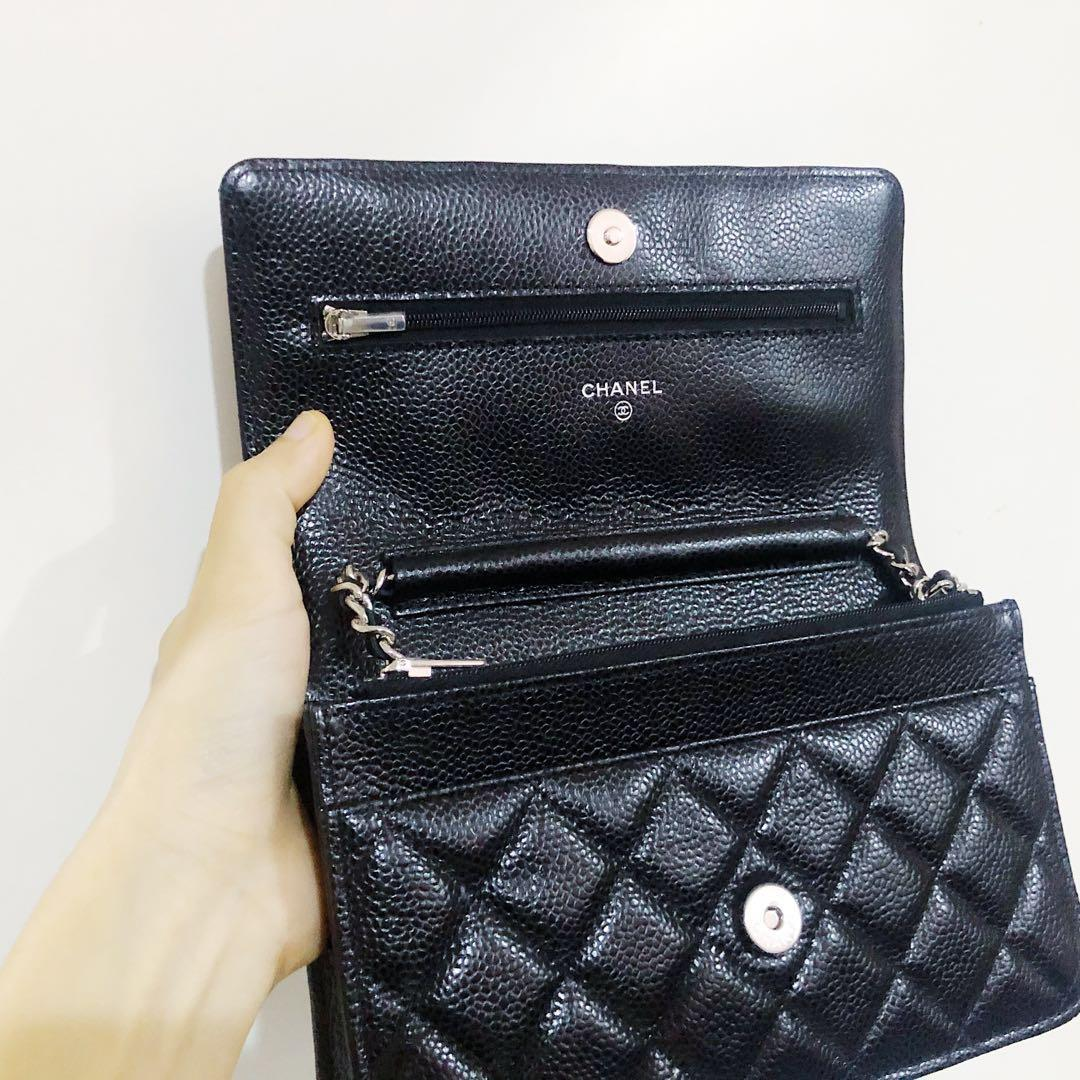 💯REDUCED Authentic Chanel WOC Caviar Leather Silver Hardware (Full Set)
