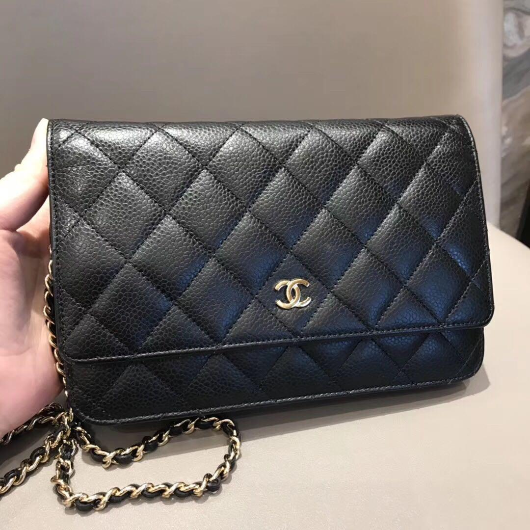Authentic Pre-loved Chanel Caviar Leather Wallet On Chain WOC