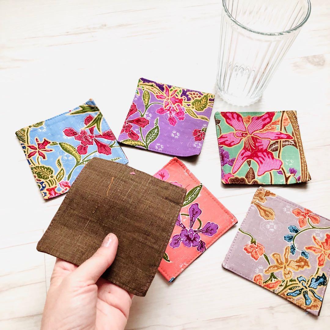 Batik Fabric Coasters Handmade in Singapore