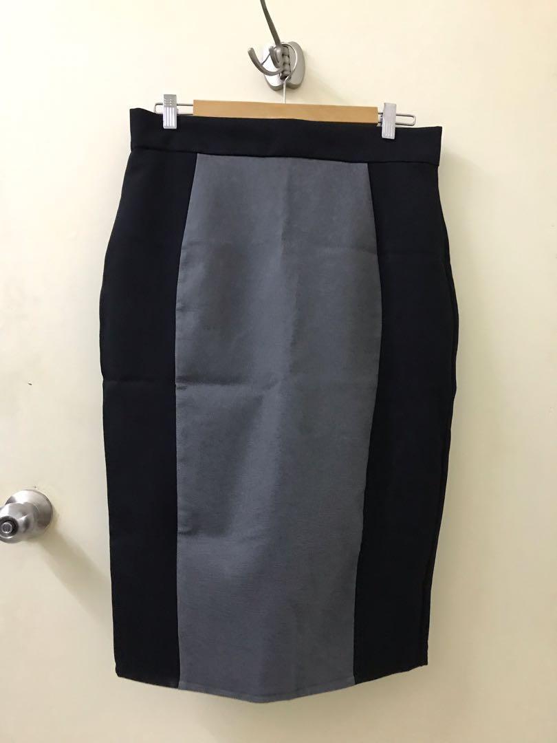 Black and grey pencil skirt