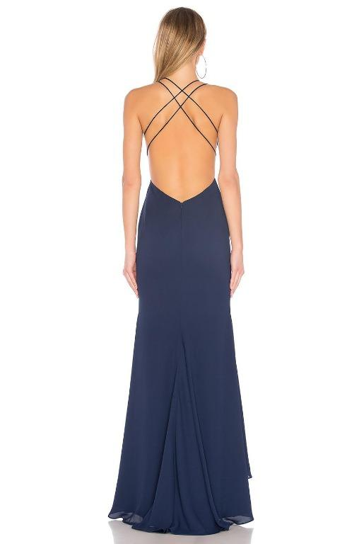 BNWT FAME & PARTNERS NAVY SURREAL DREAMER PETITE GOWN-SIZE 6 AU/ 2 US (RRP $289)