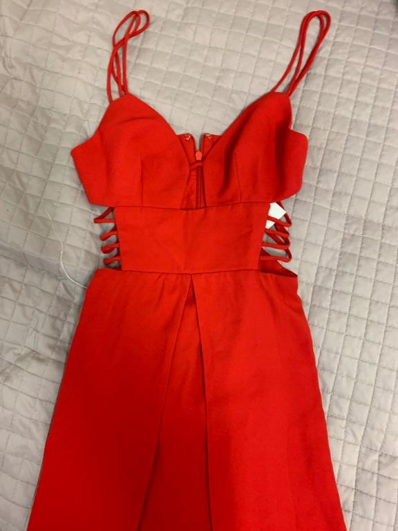 BRAND NEW WITH TAGS FAME & PARTNERS RED MEGAN DRESS - SIZE 4 AU (RRP $365)
