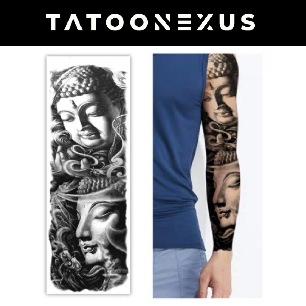 Buddhism Temporary Tattoo Sticker With Arm Body Art Big Sleeve Large Fake Tattoo Sticker Design Craft Art Prints On Carousell