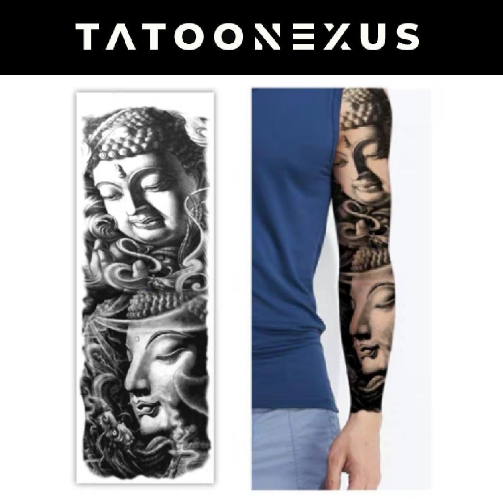 Buddhism Temporary Tattoo Sticker With Arm Body Art Big Sleeve Large Fake Tattoo Sticker Design Craft Art Prints On Carousell