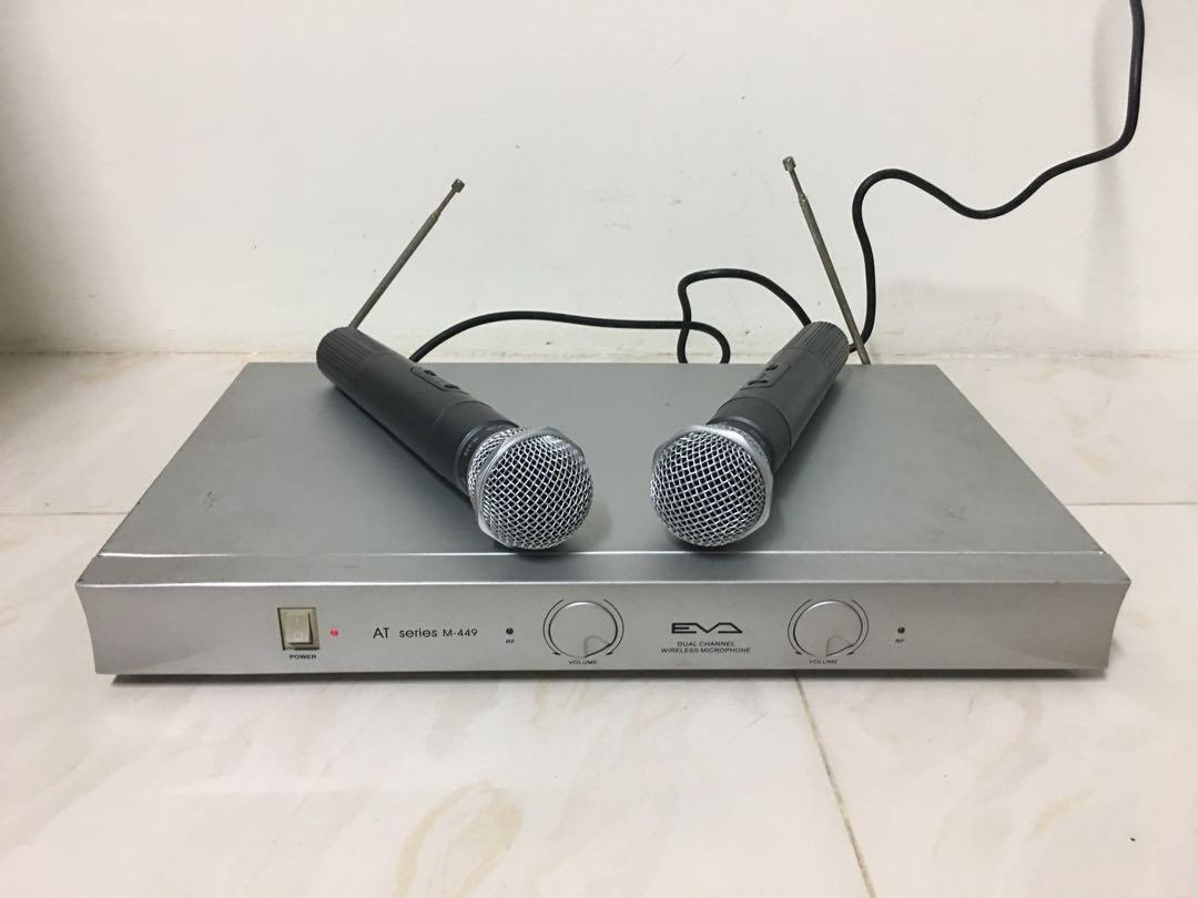 EVA wireless microphone 無線麥克風 台灣 EVA AT M449 VHF無線麥克風 雙頻道2支無線麥克風 雙頻道