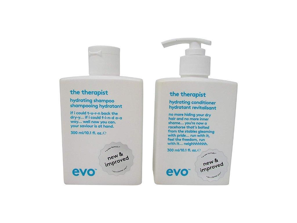 evo the therapist shampoo + the therapist hydrating conditioner duo