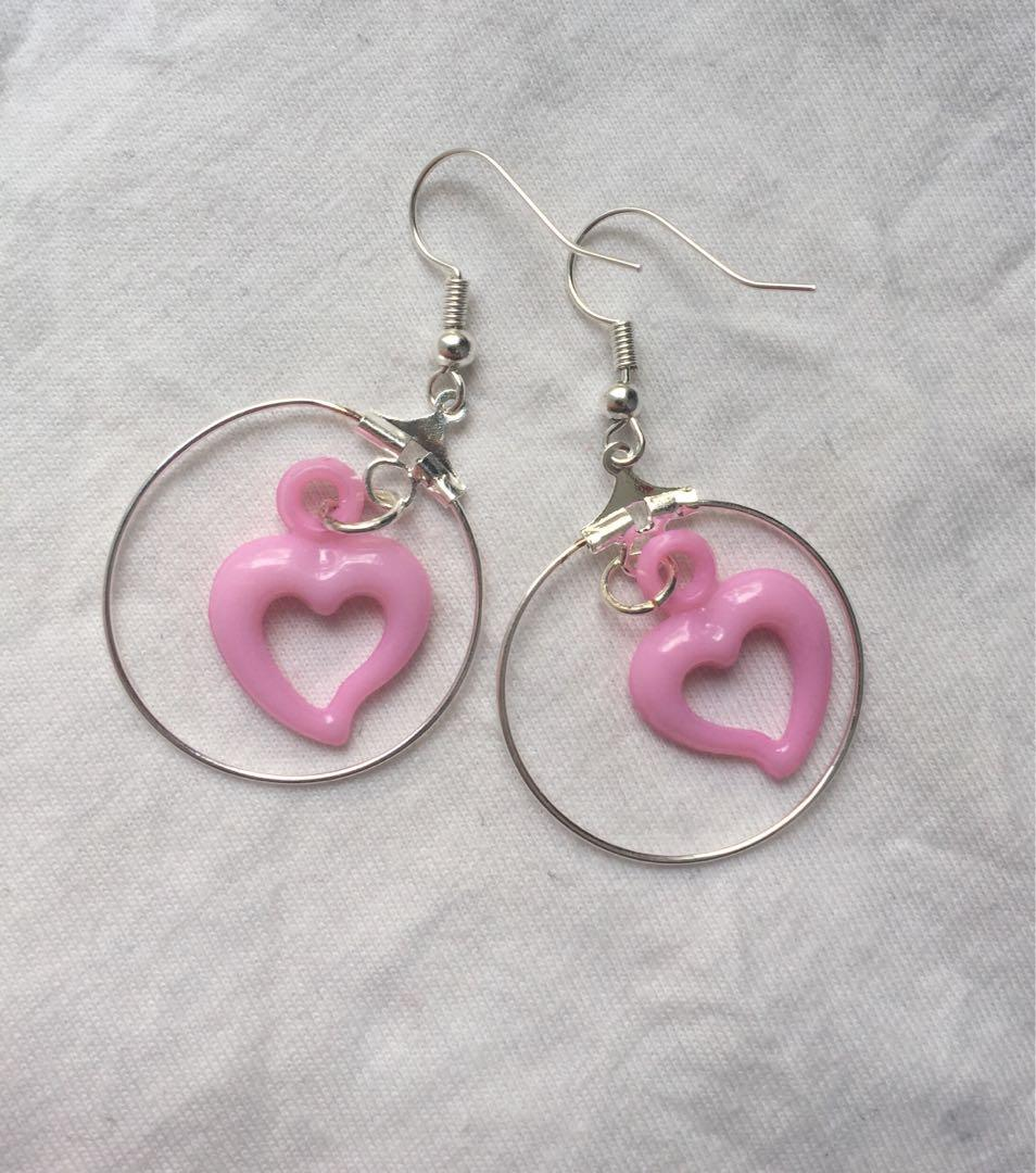 Handmade kawaii egirl baby pink love heart hoop earrings