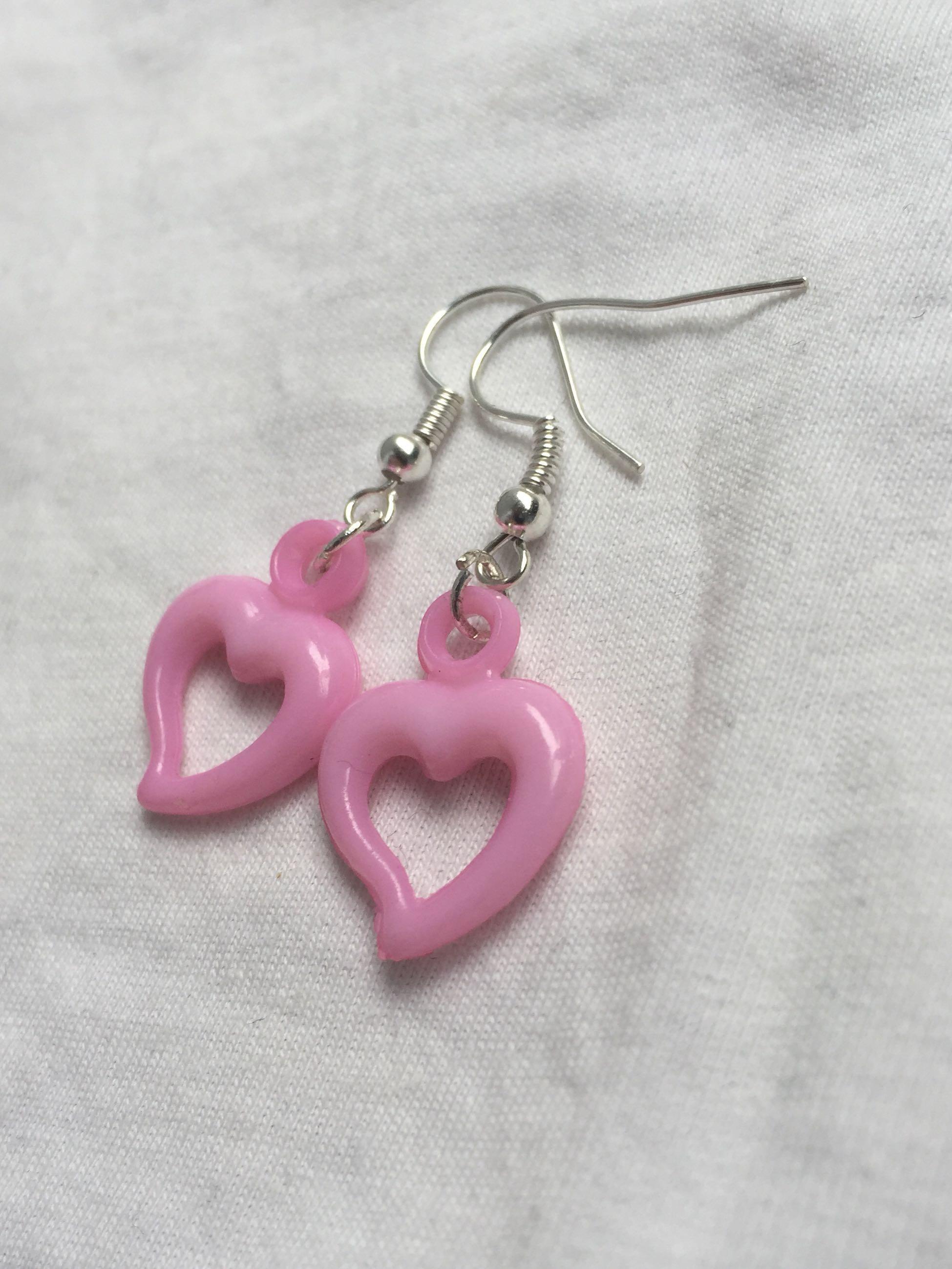 Handmade y2k Kawaii egirl baby pink love heart earrings