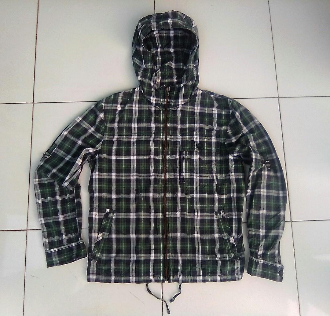 Jaket zip hoodie flannel zipper uniqlo original