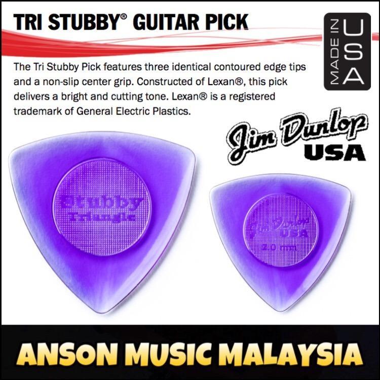 Jim Dunlop Tri Stubby Guitar Pick, 2.0mm