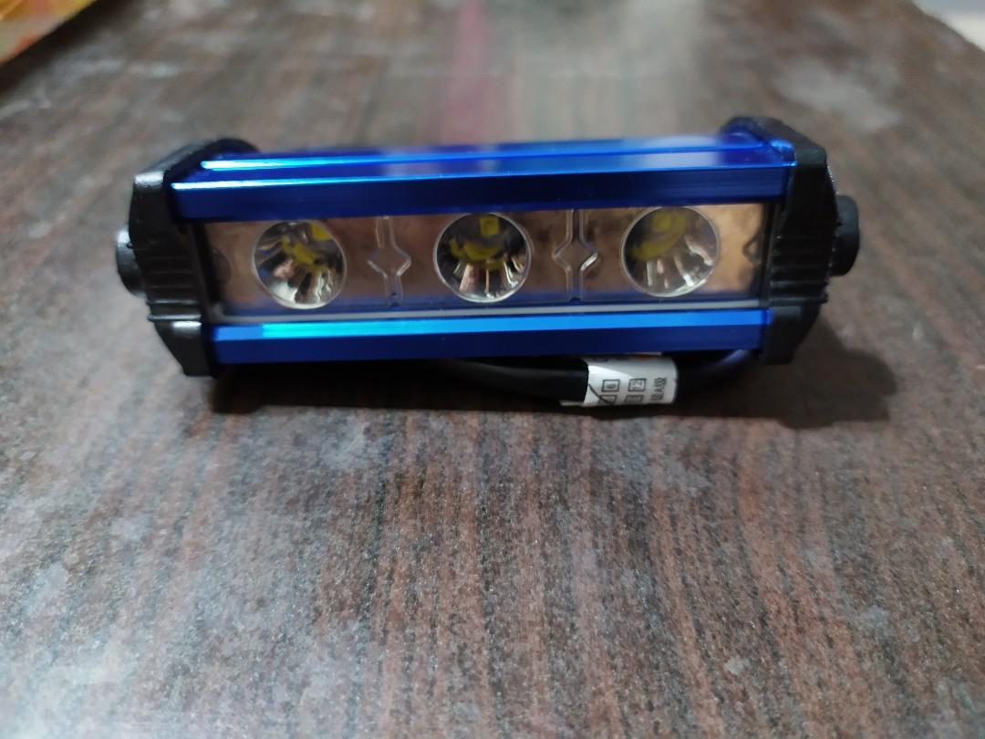 汽車led日行燈通用改裝燈條超薄防水大功率超亮led中網爆閃燈 藍色/1對