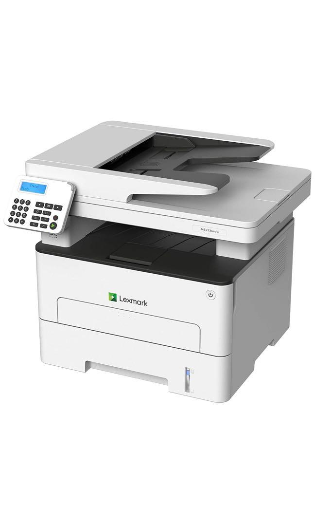 LEXMARK MB2236adw Multifunction Laser Printer, Monochrome, White/Gray