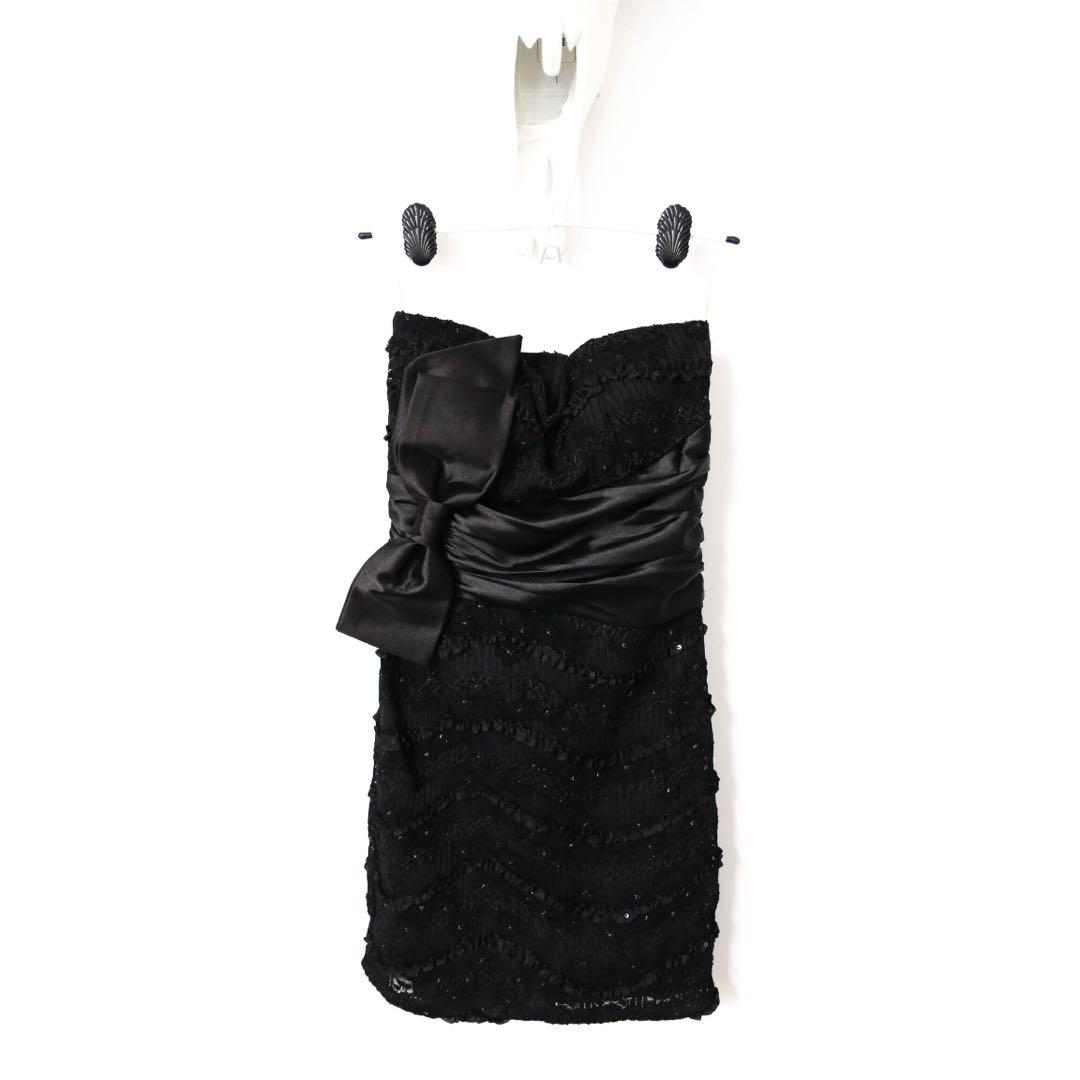 Mendocino Black Strapless Sequins Dress