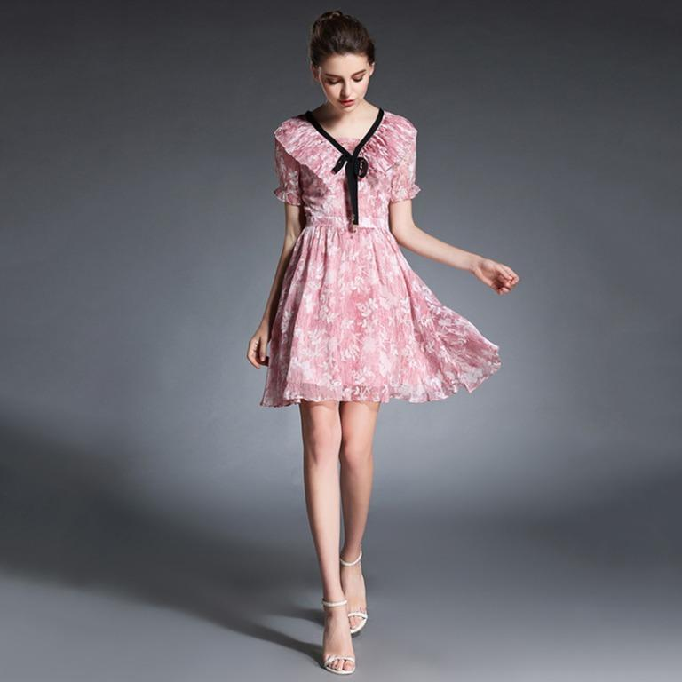 Pink Floral dress with pleated collar and black bow - Asian Size S (approx AU XS)  #swapau