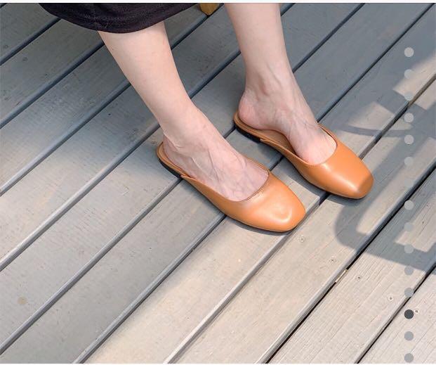 Queen shop 質感素面方頭半拖鞋  懶人鞋 駝色 38