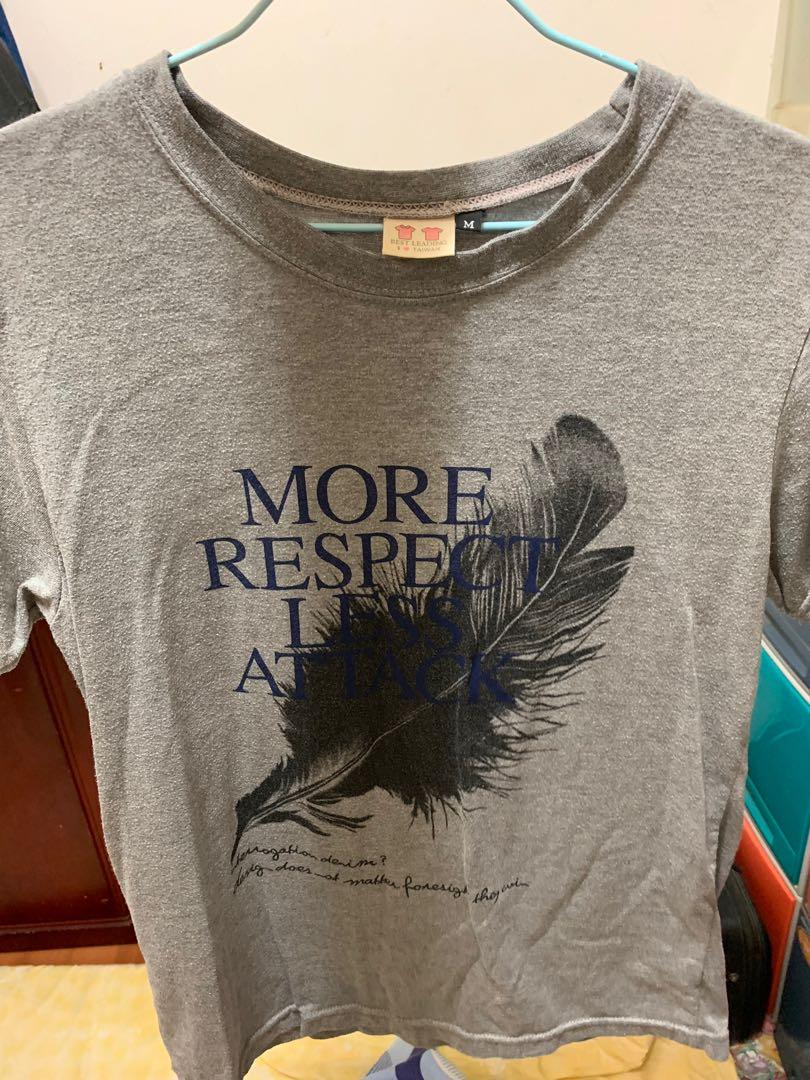 灰色羽毛Respect 短袖上衣 M號