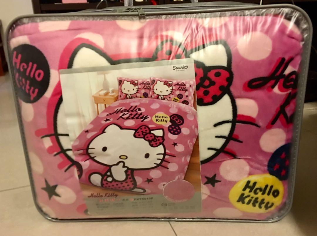 Sanrio 三麗鷗 Hello kitty 法蘭絨雙人床包四件組 全新-限面交