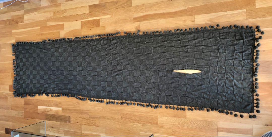 Scanlan Theodore khaki shawl/scarf with Pom poms EUC