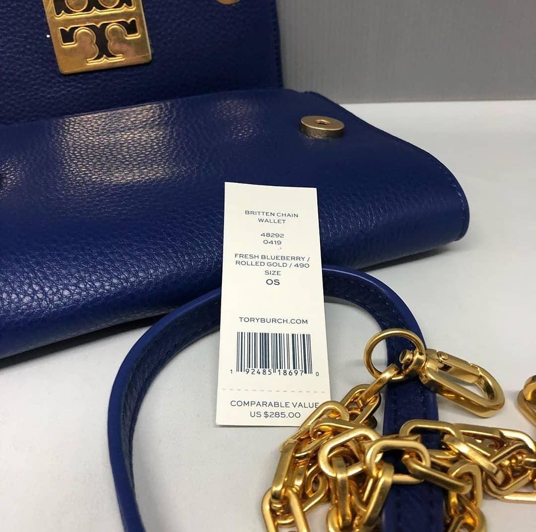 Tory Burch Britten Chain Wallet 19×15×3 (with 16 cards Slots and Adjustable chain)