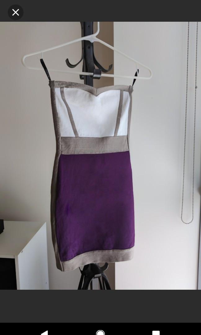 Very sexy Bebe bodycon colour Block mini dress strapless