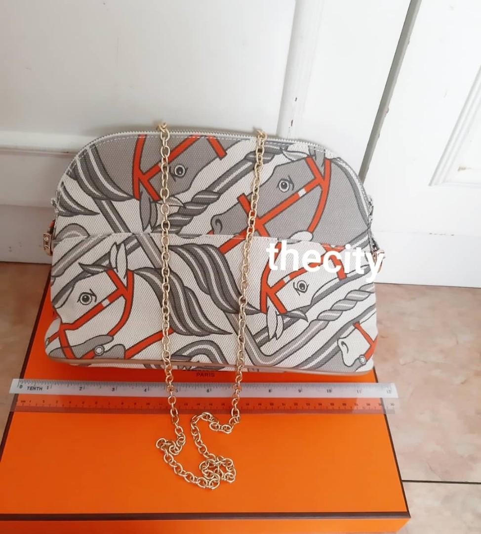 VINTAGE HERMES EQUESTRIAN STEEPLE CANVAS MEDIUM POUCH - HERMES JAPAN CUSTOM ORDERED ITEM (HERMES BABY DEPT.) - ORANGE - COMES WITH EXTRA ADD HOOKS & LONG STRAP FOR CROSSBODY  SLING - CLEAN INTERIOR & EXTERIOR - WITHOUT TAGS -