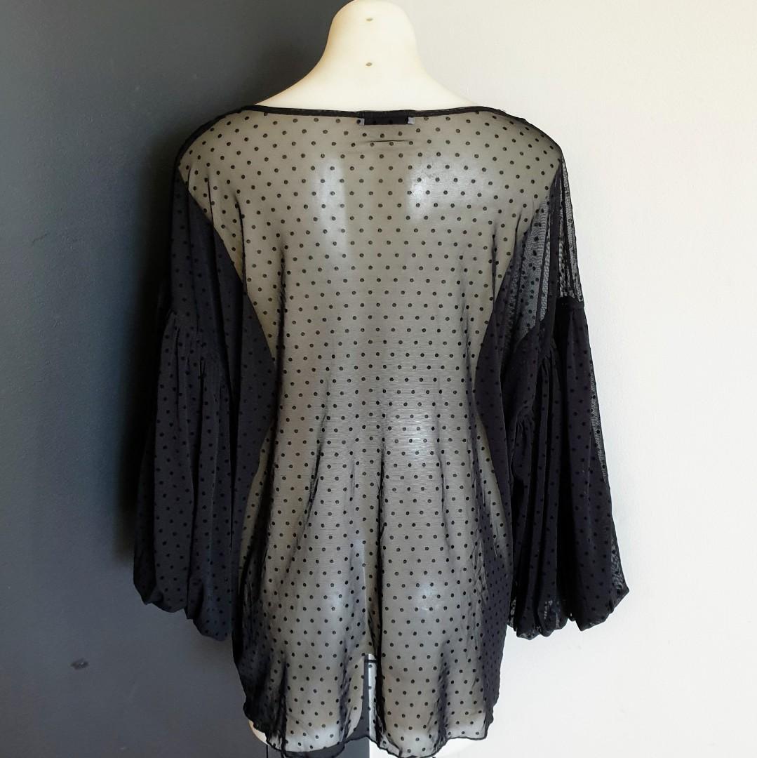 Women's size 18 'LIVING DOLL' Stunning black sheer polka dot balloon sleeve blouse top  - AS NEW