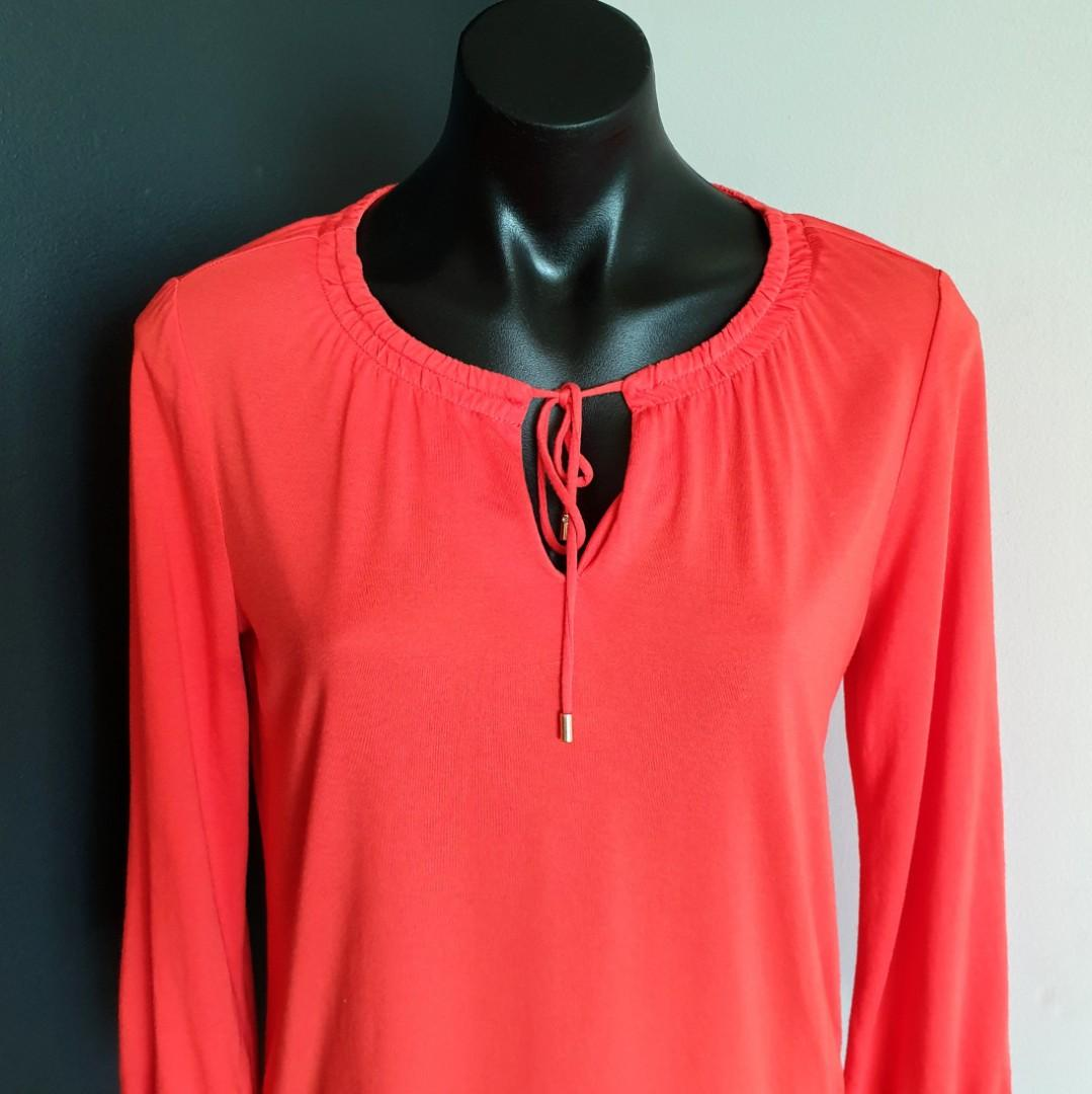 Women's size XS 6-10 'TRENERY' Gorgeous coral long sleeve blouse top - AS NEW