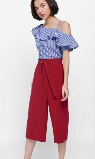 Size S: Love Bonito Collier Sash Culottes in red