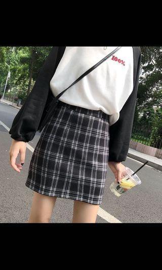 短版 高腰 格子a字裙