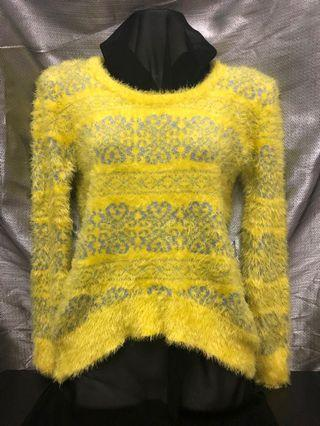 Furry Knitwear - Yellow with knitted prints