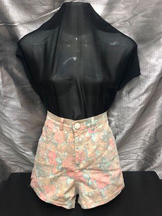 High Waist Jeans Shorts - Floral