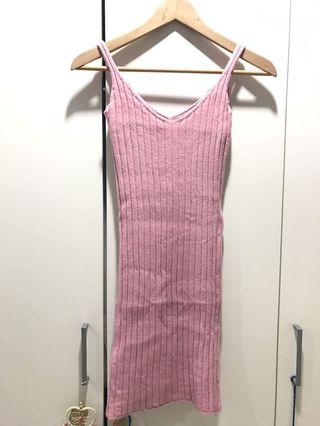 Pink Stretchable Wool Dress