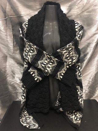 Wool Oversized Cardigan - Black White