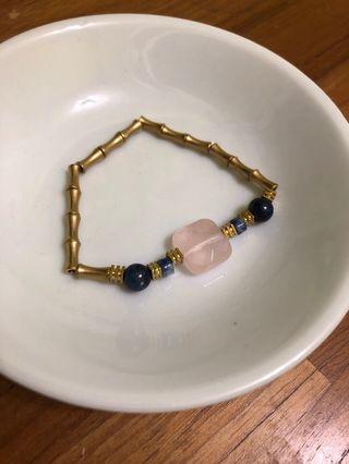 粉方晶&蘇打石&青金石 黃銅手鍊