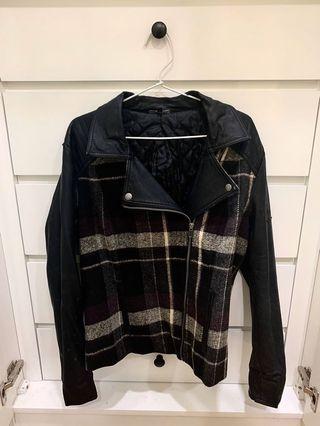 Leather Jacket Jaket Kulit Pleat Purple Black Ungu Hitam Bike Coat M&S