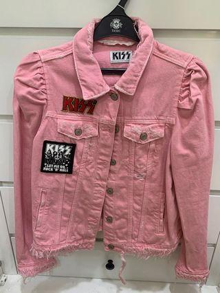 KISS Pink Denim Jacket Limited Edition Jaket Ripped Jeans Zara Trafaluc denimwear