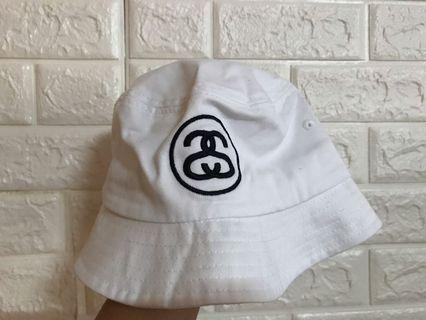 Stussy 漁夫帽 古著配件 經典白 雙S 全新