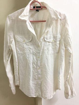 Ralph lauren white linen shirt
