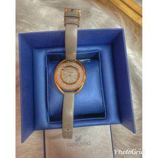 正品施華洛世奇手錶swarovski玫瑰金配灰真皮錶帶