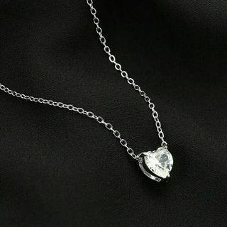 Kalung pendek kristal cubic zirconia heart