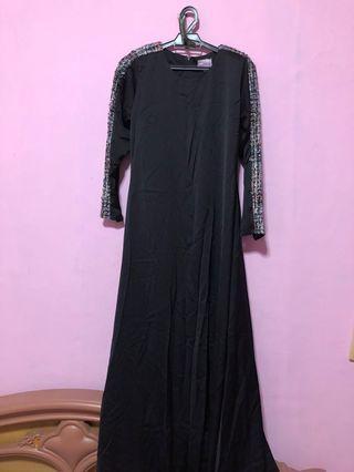 Black Jubah with tweed sleve