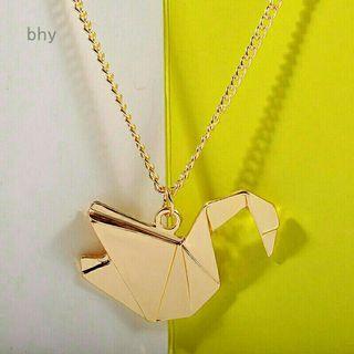 Kalung panjang golden origami angsa