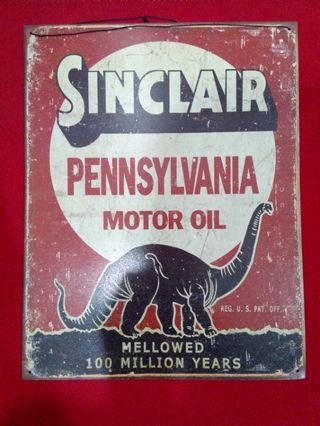 Sinclair Motor Oil Tin Metal Sign Dinosaur Auto