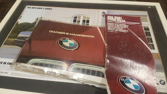 BMW E30 owners manual with colours n upholstery catalogue