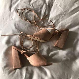 Public Desire Pink Peru Strappy Lace Up Heels #lelong80