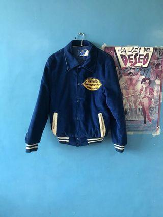 👦🏻👩🏻美製古著 champion 棒球外套 燈芯絨 湛藍 vintage 學院風 鋪棉
